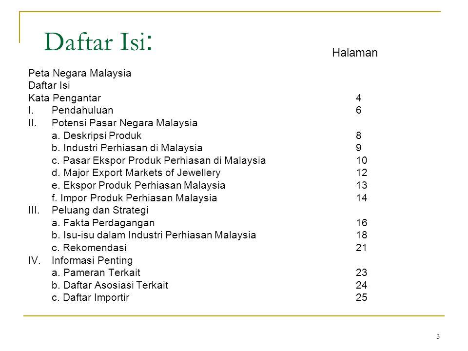 3 Daftar Isi : Peta Negara Malaysia Daftar Isi Kata Pengantar4 I.Pendahuluan6 II.Potensi Pasar Negara Malaysia a. Deskripsi Produk8 b. Industri Perhia