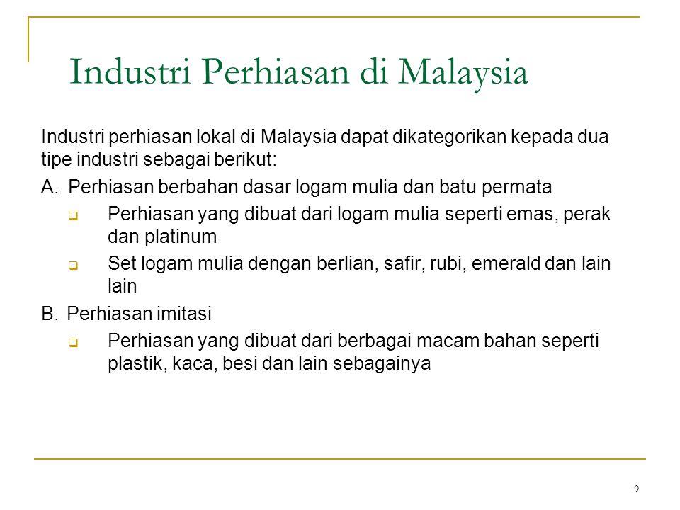 9 Industri Perhiasan di Malaysia Industri perhiasan lokal di Malaysia dapat dikategorikan kepada dua tipe industri sebagai berikut: A. Perhiasan berba