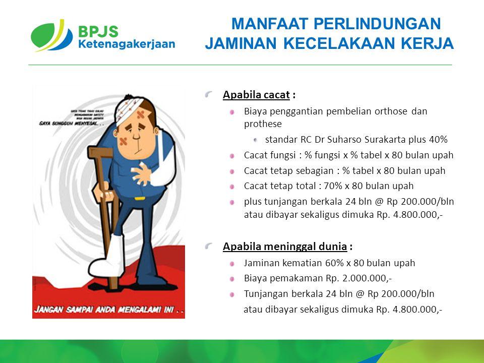 Apabila cacat : Biaya penggantian pembelian orthose dan prothese standar RC Dr Suharso Surakarta plus 40% Cacat fungsi : % fungsi x % tabel x 80 bulan