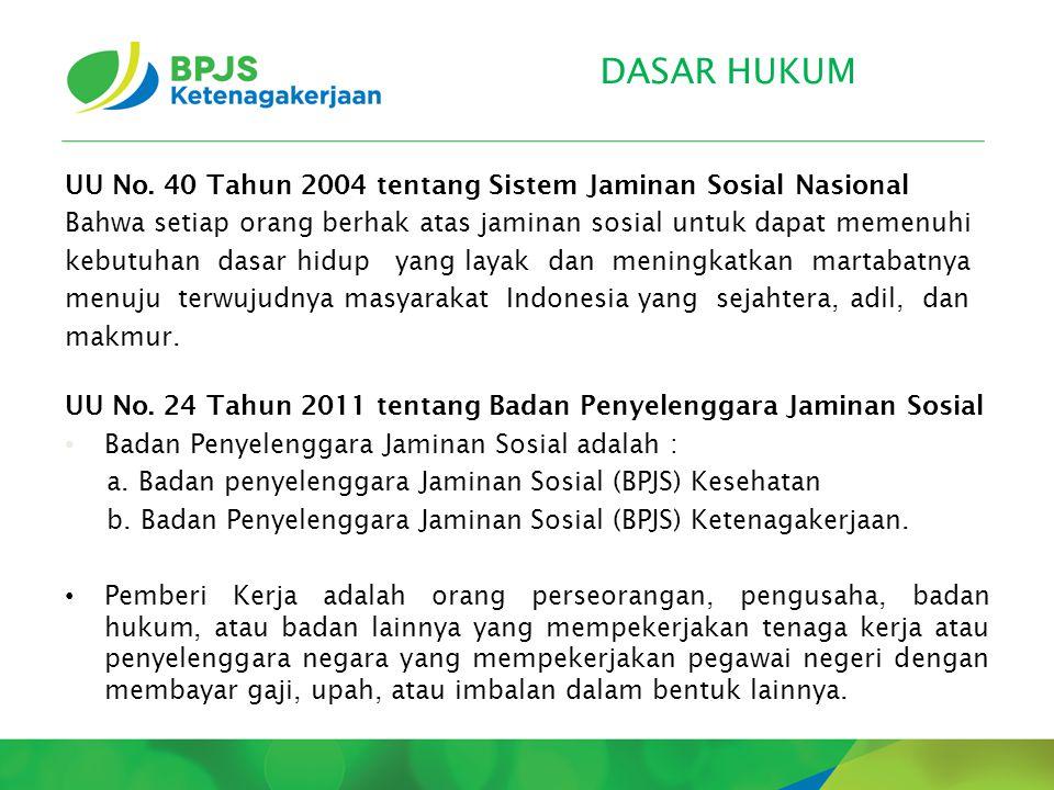 DASAR HUKUM UU No. 40 Tahun 2004 tentang Sistem Jaminan Sosial Nasional Bahwa setiap orang berhak atas jaminan sosial untuk dapat memenuhi kebutuhan d