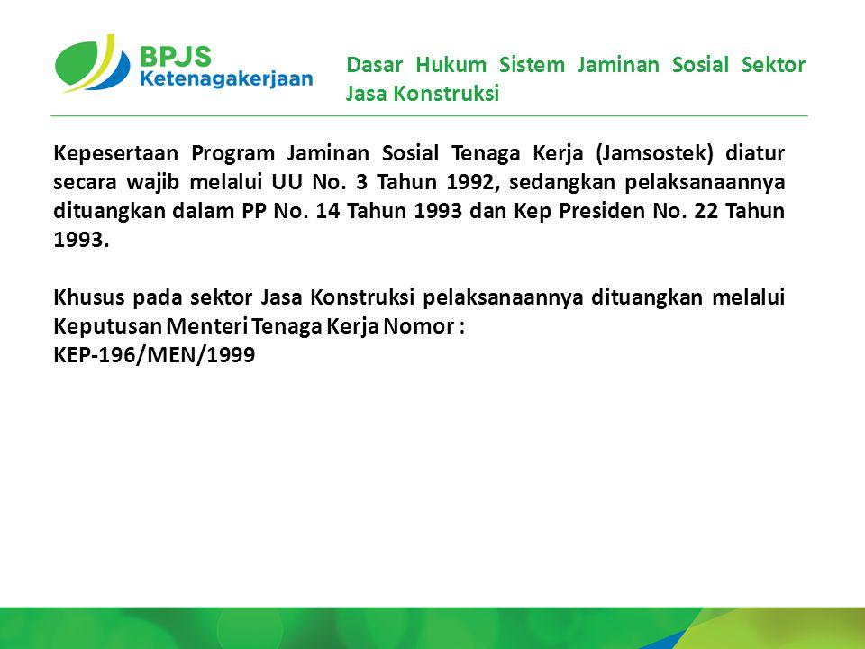 Dasar Hukum Sistem Jaminan Sosial Sektor Jasa Konstruksi Kepesertaan Program Jaminan Sosial Tenaga Kerja (Jamsostek) diatur secara wajib melalui UU No