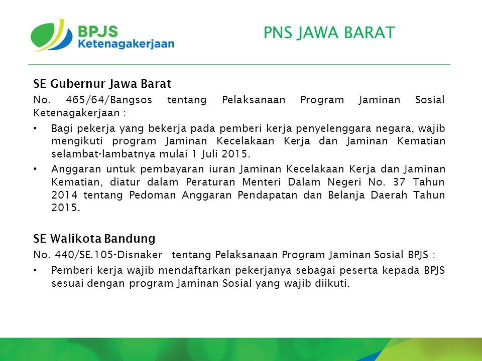 PNS JAWA BARAT SE Gubernur Jawa Barat No. 465/64/Bangsos tentang Pelaksanaan Program Jaminan Sosial Ketenagakerjaan : Bagi pekerja yang bekerja pada p