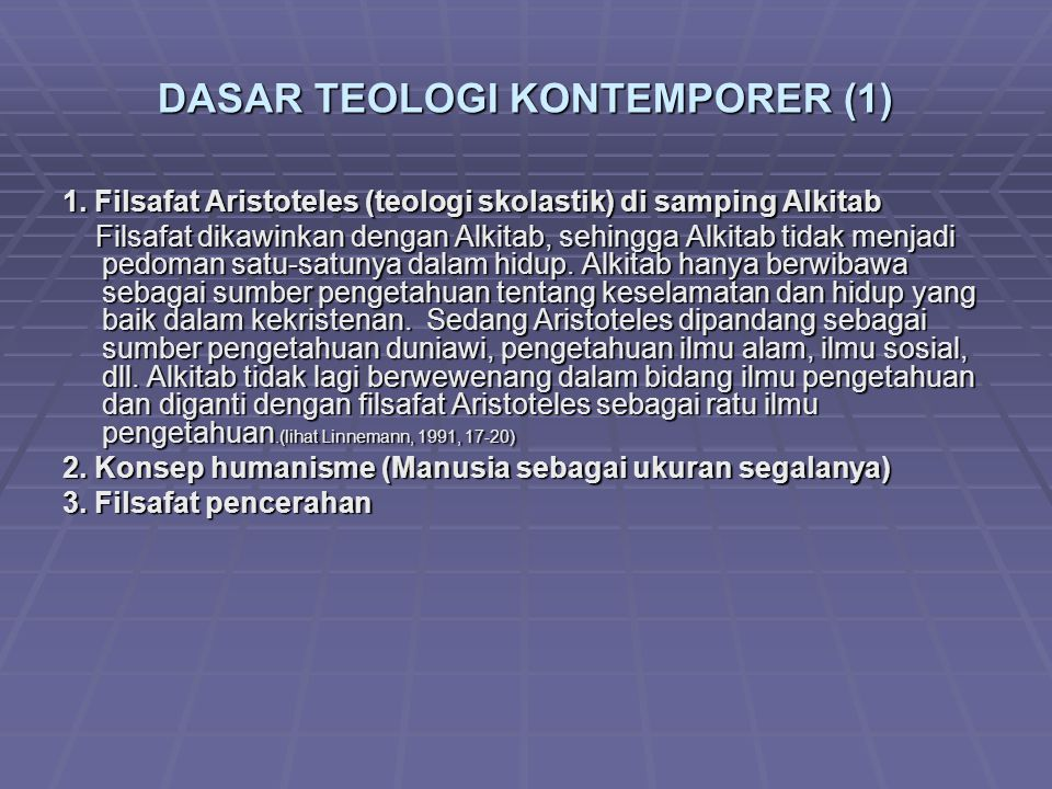 DASAR TEOLOGI KONTEMPORER (1) 1.