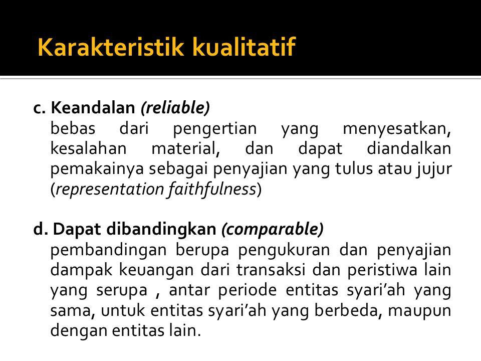 c. Keandalan (reliable) bebas dari pengertian yang menyesatkan, kesalahan material, dan dapat diandalkan pemakainya sebagai penyajian yang tulus atau