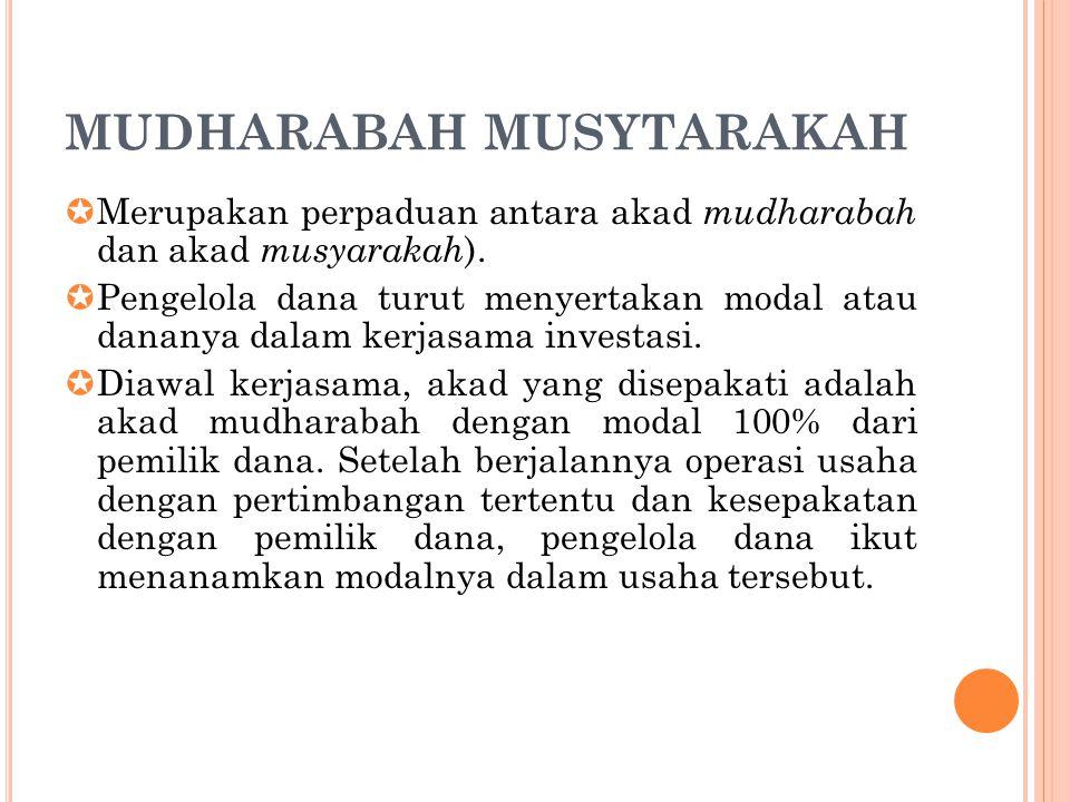 MUDHARABAH MUSYTARAKAH  Merupakan perpaduan antara akad mudharabah dan akad musyarakah ).  Pengelola dana turut menyertakan modal atau dananya dalam