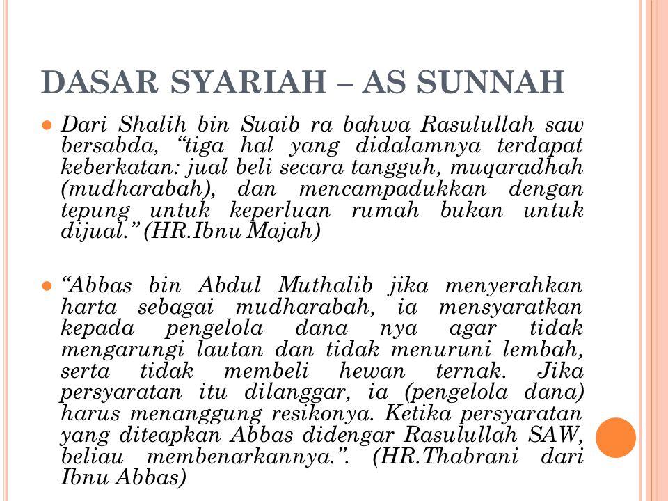 """DASAR SYARIAH – AS SUNNAH ● Dari Shalih bin Suaib ra bahwa Rasulullah saw bersabda, """"tiga hal yang didalamnya terdapat keberkatan: jual beli secara ta"""