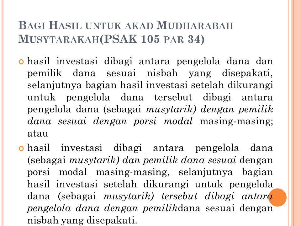 B AGI H ASIL UNTUK AKAD M UDHARABAH M USYTARAKAH (PSAK 105 PAR 34) hasil investasi dibagi antara pengelola dana dan pemilik dana sesuai nisbah yang di