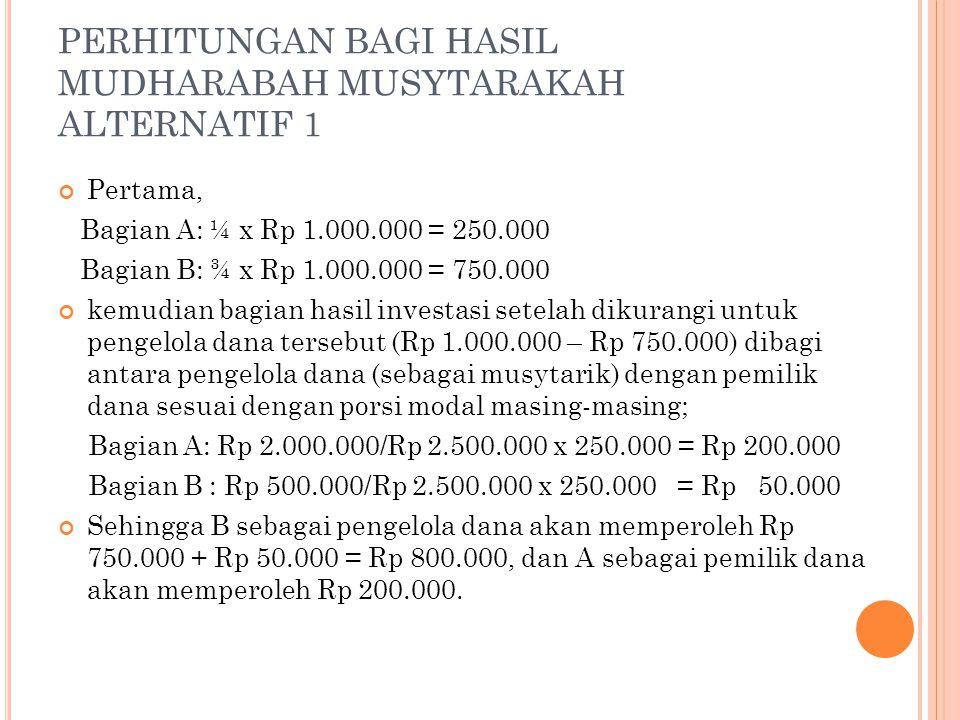PERHITUNGAN BAGI HASIL MUDHARABAH MUSYTARAKAH ALTERNATIF 1 Pertama, Bagian A: ¼ x Rp 1.000.000 = 250.000 Bagian B: ¾ x Rp 1.000.000 = 750.000 kemudian