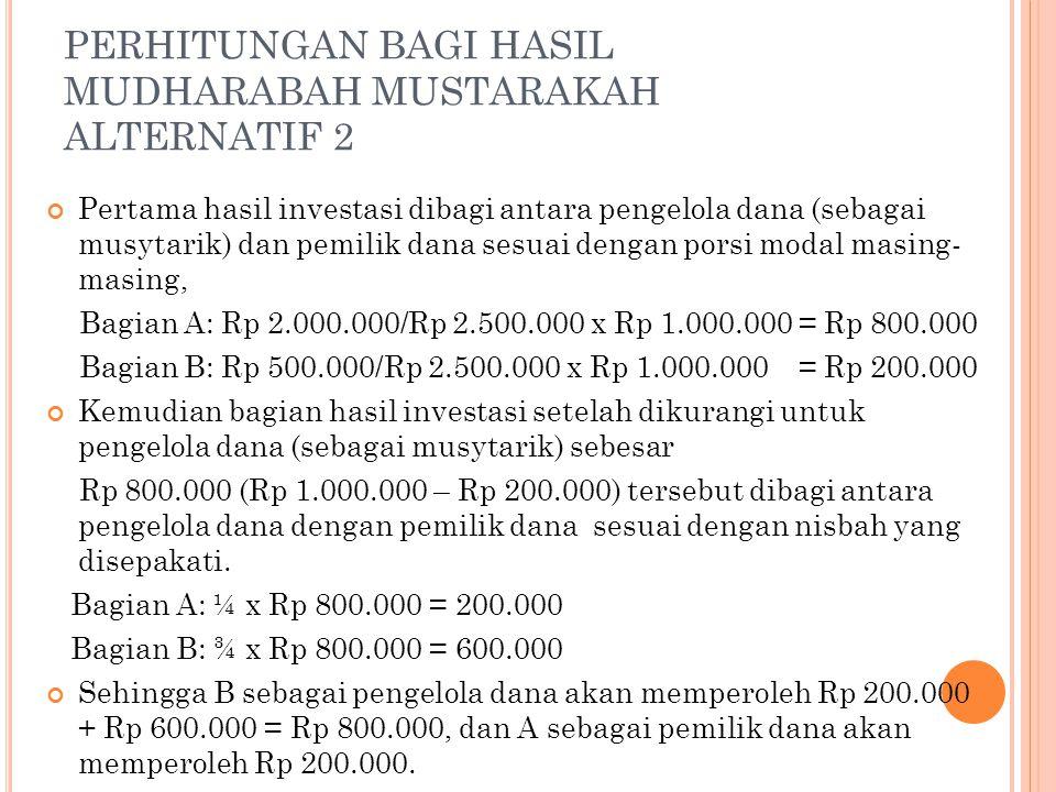 PERHITUNGAN BAGI HASIL MUDHARABAH MUSTARAKAH ALTERNATIF 2 Pertama hasil investasi dibagi antara pengelola dana (sebagai musytarik) dan pemilik dana se