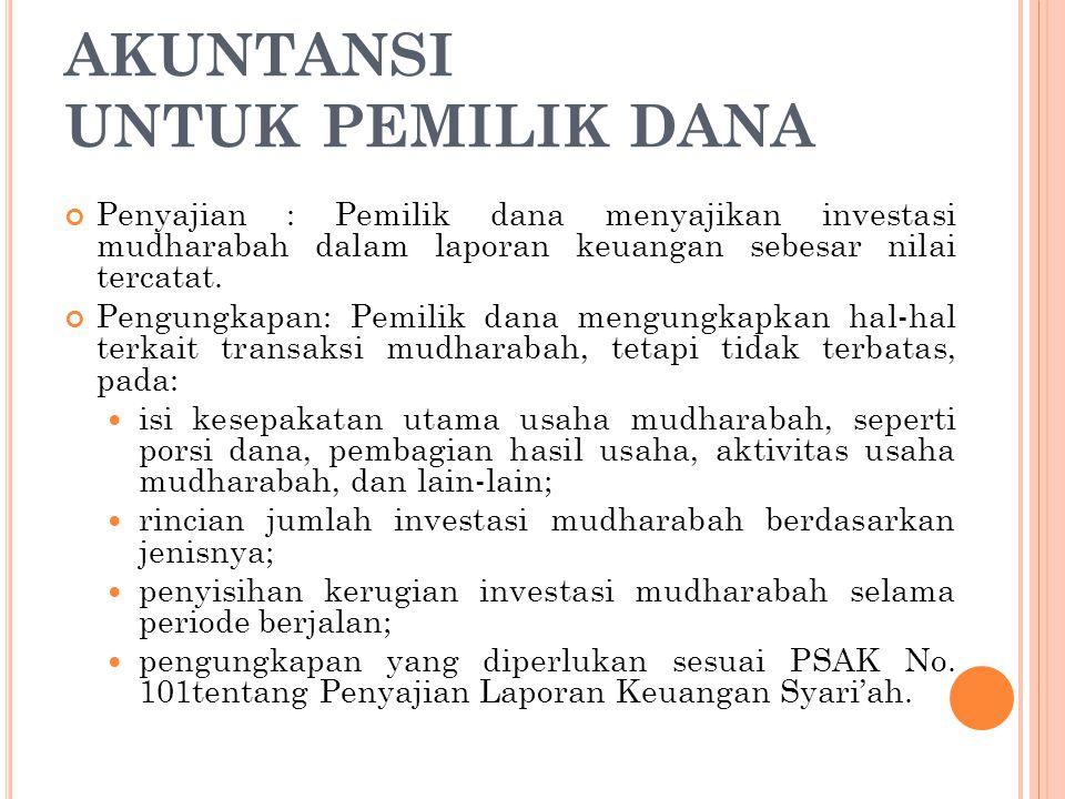Penyajian : Pemilik dana menyajikan investasi mudharabah dalam laporan keuangan sebesar nilai tercatat. Pengungkapan: Pemilik dana mengungkapkan hal-h