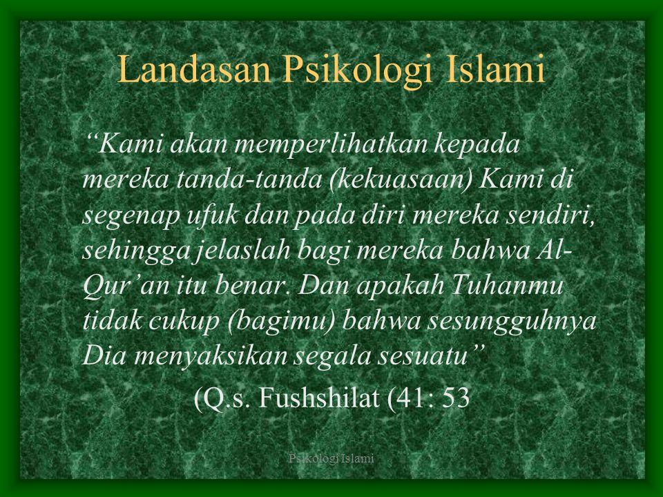 """Psikologi Islami Landasan Psikologi Islami """"Kami akan memperlihatkan kepada mereka tanda-tanda (kekuasaan) Kami di segenap ufuk dan pada diri mereka s"""