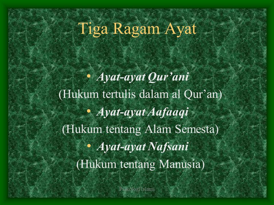 Psikologi Islami Tiga Ragam Ayat Ayat-ayat Qur'ani (Hukum tertulis dalam al Qur'an) Ayat-ayat Aafaaqi (Hukum tentang Alam Semesta) Ayat-ayat Nafsani (