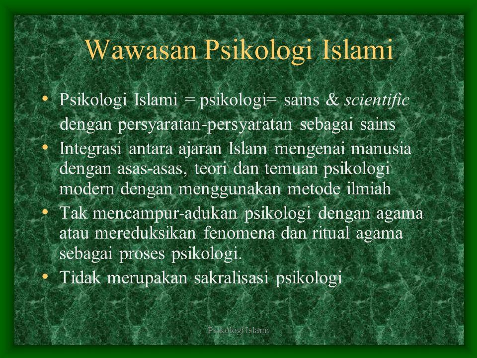 Psikologi Islami Wawasan Psikologi Islami Psikologi Islami = psikologi= sains & scientific dengan persyaratan-persyaratan sebagai sains Integrasi anta