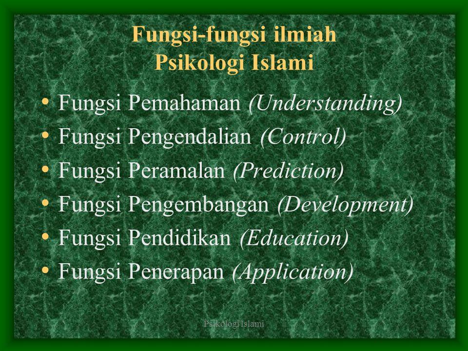 Psikologi Islami Fungsi-fungsi ilmiah Psikologi Islami Fungsi Pemahaman (Understanding) Fungsi Pengendalian (Control) Fungsi Peramalan (Prediction) Fu