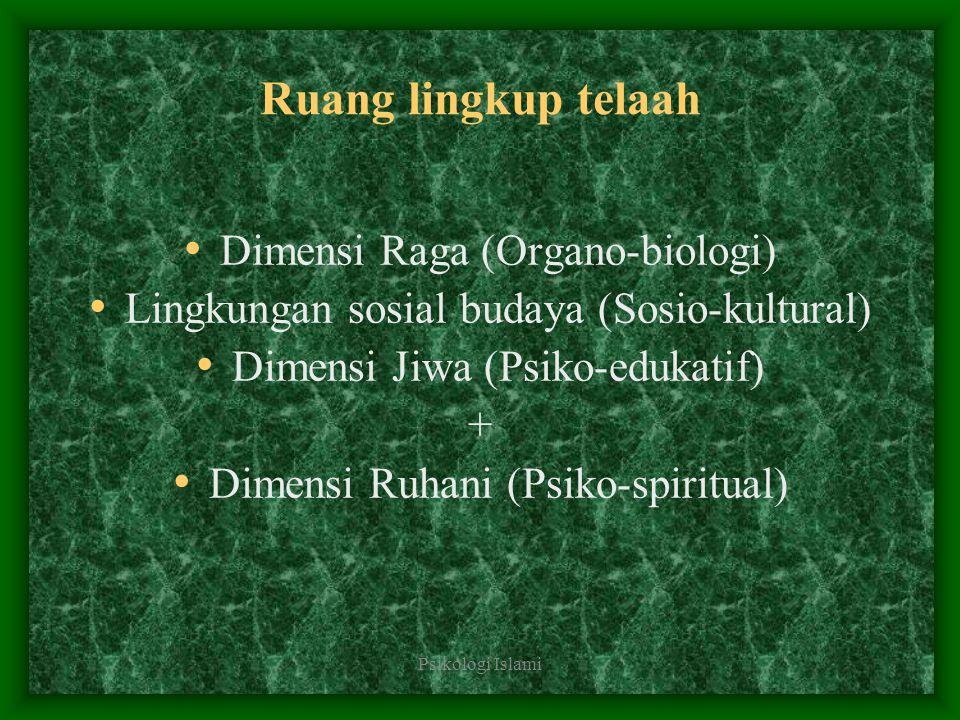 Psikologi Islami Ruang lingkup telaah Dimensi Raga (Organo-biologi) Lingkungan sosial budaya (Sosio-kultural) Dimensi Jiwa (Psiko-edukatif) + Dimensi