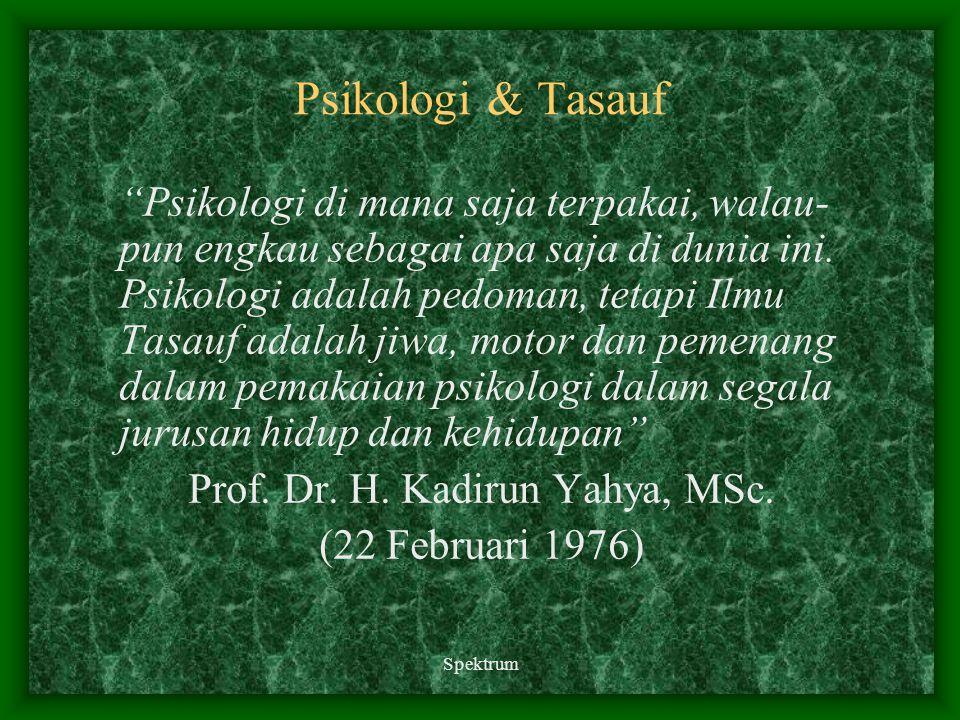 "Spektrum Psikologi & Tasauf ""Psikologi di mana saja terpakai, walau- pun engkau sebagai apa saja di dunia ini. Psikologi adalah pedoman, tetapi Ilmu T"