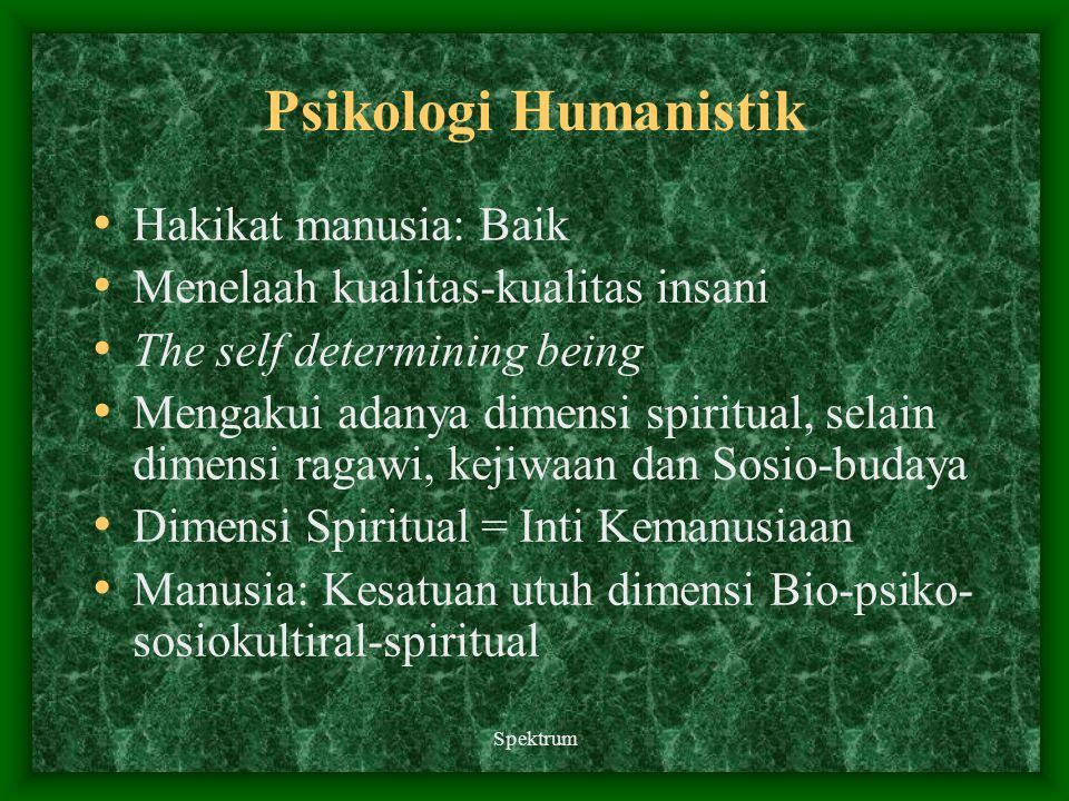Spektrum Psikologi Humanistik Hakikat manusia: Baik Menelaah kualitas-kualitas insani The self determining being Mengakui adanya dimensi spiritual, se
