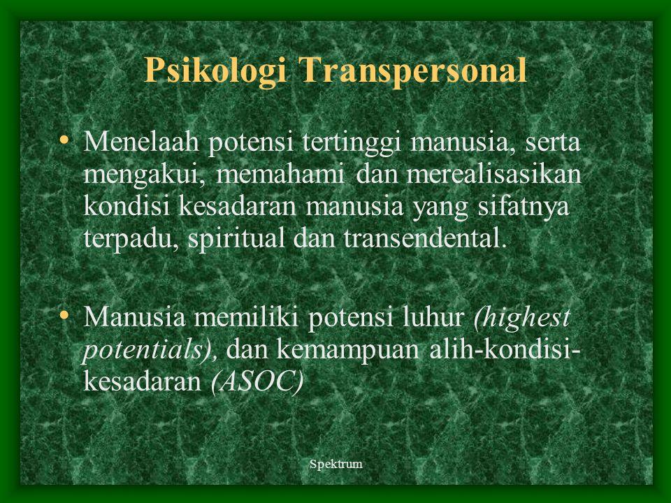 Spektrum Psikologi Transpersonal Menelaah potensi tertinggi manusia, serta mengakui, memahami dan merealisasikan kondisi kesadaran manusia yang sifatn