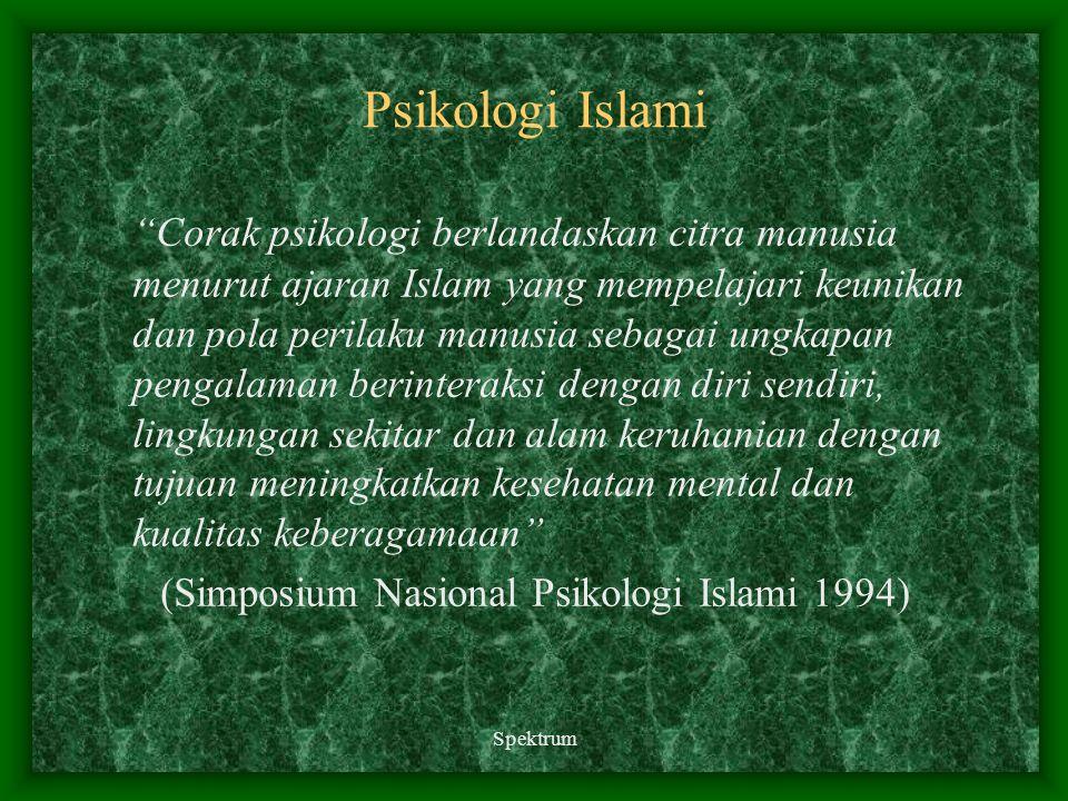 "Psikologi Islami ""Corak psikologi berlandaskan citra manusia menurut ajaran Islam yang mempelajari keunikan dan pola perilaku manusia sebagai ungkapan"