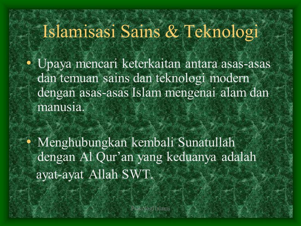 Psikologi Islami Islamisasi Psikologi Meninjau kesesuaian antara landasan dan asas-asas psikologi dengan asas-asas manusia menurut ajaran islam Memberi landasan baru kepada psikologi kontemporer dengan asas-asas dan nilai- nilai islam mengenai manusia.