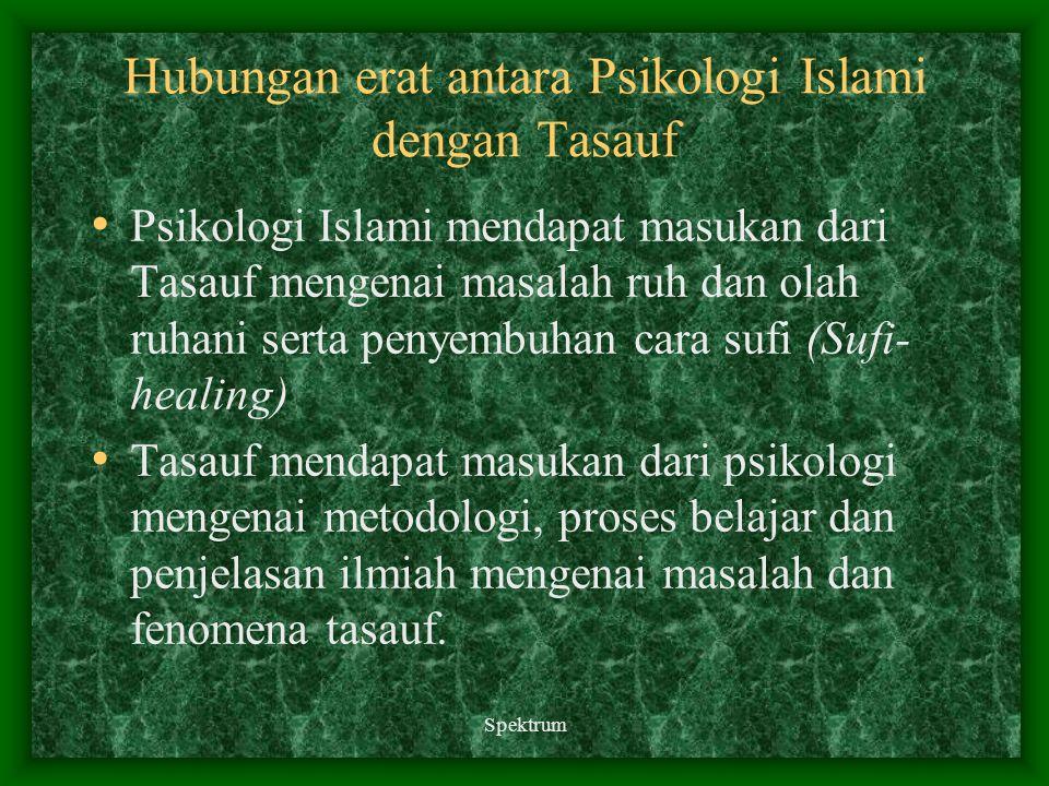 Spektrum Hubungan erat antara Psikologi Islami dengan Tasauf Psikologi Islami mendapat masukan dari Tasauf mengenai masalah ruh dan olah ruhani serta