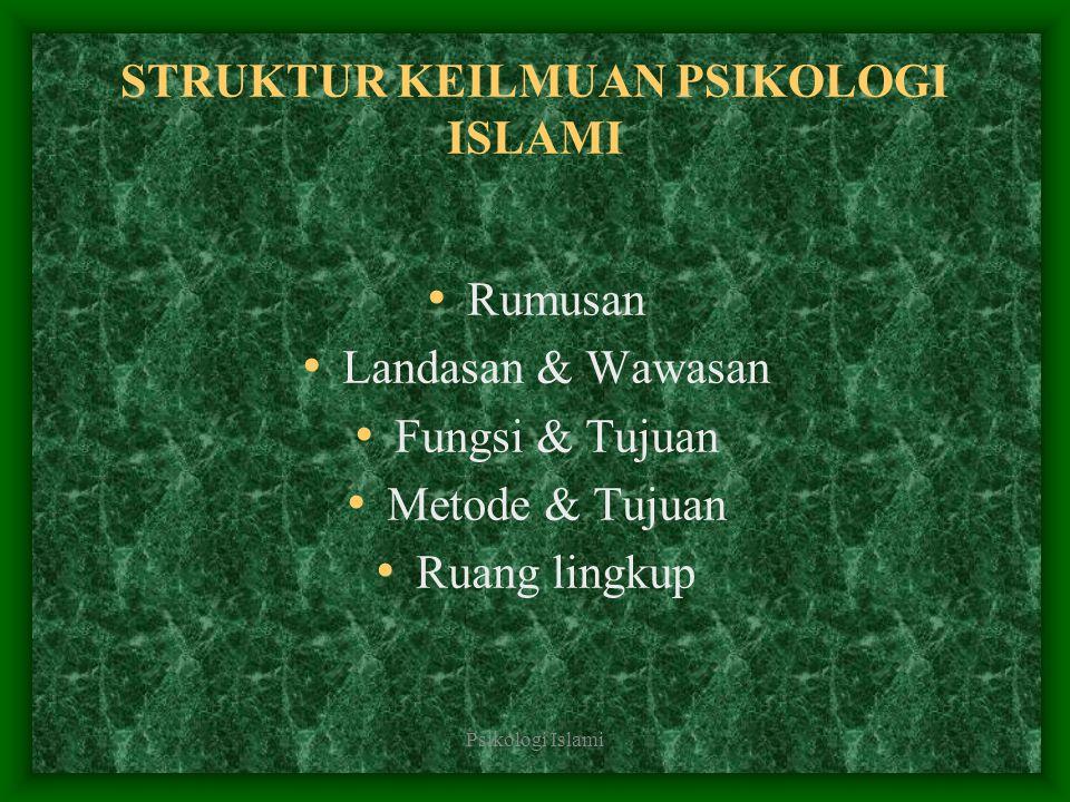 Psikologi Islami STRUKTUR KEILMUAN PSIKOLOGI ISLAMI Rumusan Landasan & Wawasan Fungsi & Tujuan Metode & Tujuan Ruang lingkup