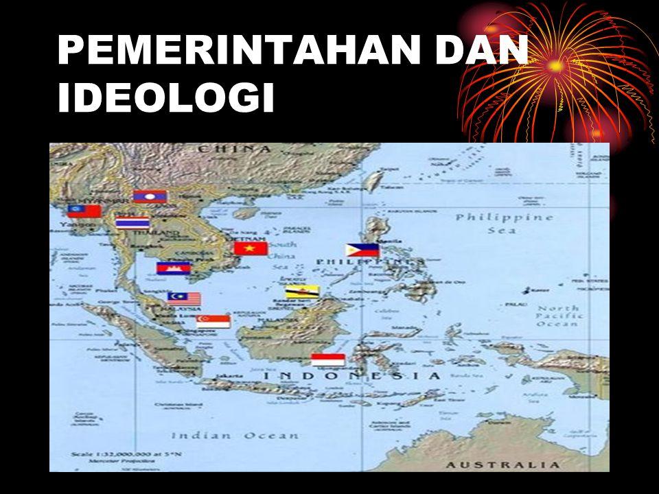BENTUK PEMERINTAHAN DAN IDEOLOGI POLITIK BENTUK PEMERINTAHAN : REPUBLIK (INDONESIA, PILIPINA, VIETNAM, KAMBOJA, SINGAPURA, MYANMAR), KERAJAAN (THAILAND, LAOS, MALAYSIA, BRUNAI DARUSSALAM)