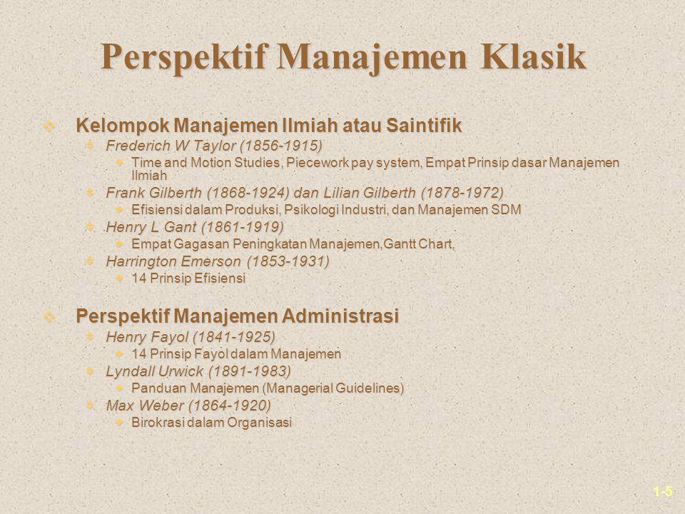 1-16 Perspektif Sistem dalam Manajemen Input dari Lingkungan: Bahan baku, SDM, informasi, uang Proses Transformasi: Sistem operasi, sistem administrasi, teknologi, sistem kontrol Output bagi Lingkungan: Barang/Jasa, Untung/Rugi, perilaku pekerja, output informasi Umpan Balik