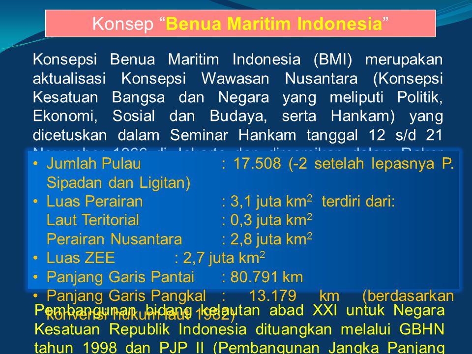 "Konsep ""Benua Maritim Indonesia"" Konsepsi Benua Maritim Indonesia (BMI) merupakan aktualisasi Konsepsi Wawasan Nusantara (Konsepsi Kesatuan Bangsa dan"