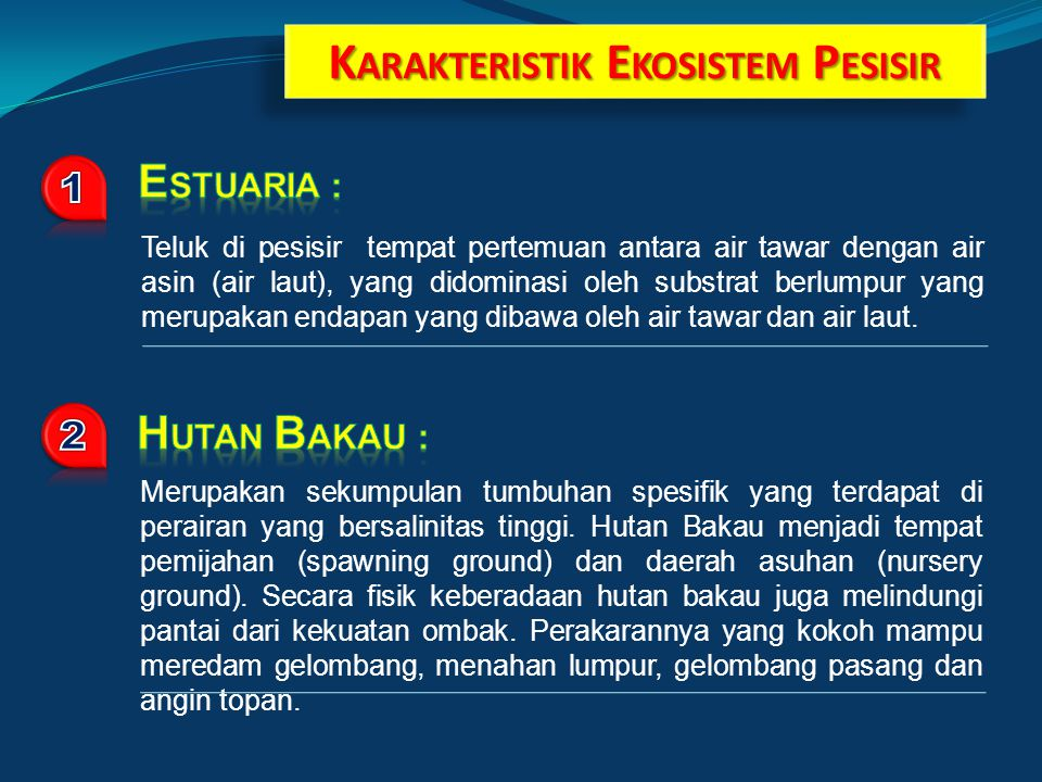 K ARAKTERISTIK E KOSISTEM P ESISIR Teluk di pesisir tempat pertemuan antara air tawar dengan air asin (air laut), yang didominasi oleh substrat berlumpur yang merupakan endapan yang dibawa oleh air tawar dan air laut.