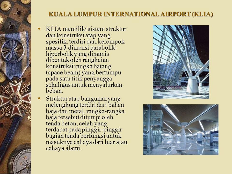 KUALA LUMPUR INTERNATIONAL AIRPORT (KLIA)  KLIA memiliki sistem struktur dan konstruksi atap yang spesifik, terdiri dari kelompok massa 3 dimensi par