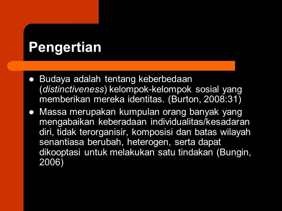 Pengertian Budaya adalah tentang keberbedaan (distinctiveness) kelompok-kelompok sosial yang memberikan mereka identitas. (Burton, 2008:31) Massa meru