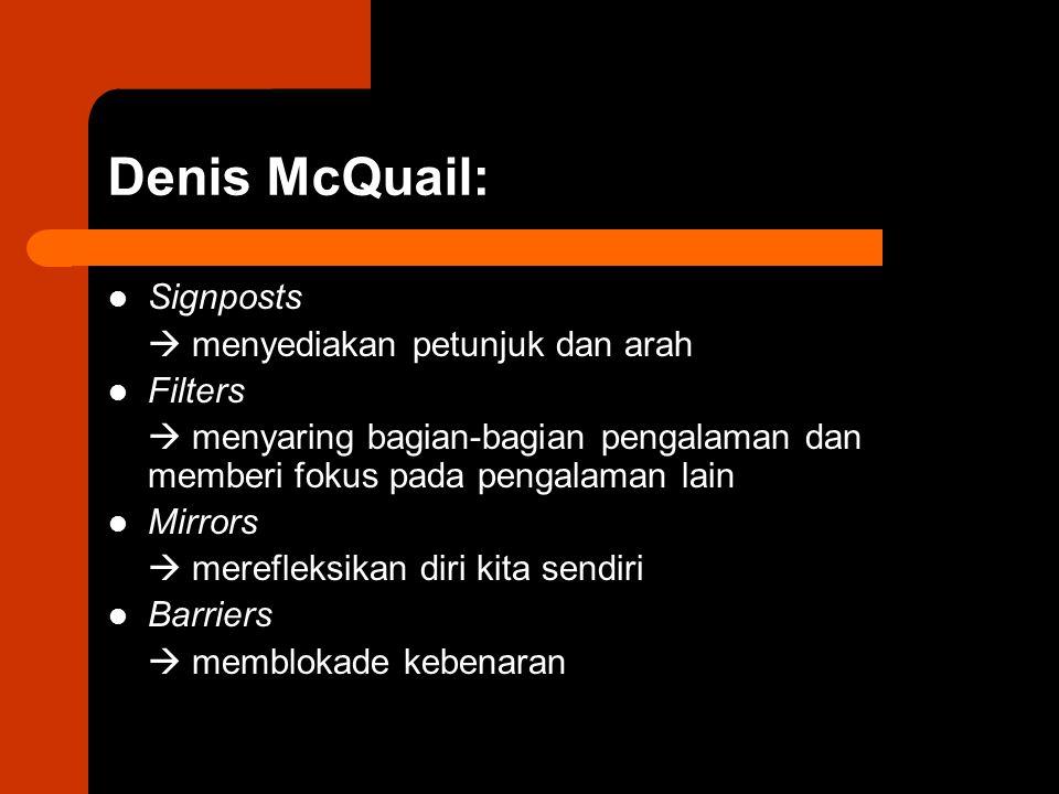 Denis McQuail: Signposts  menyediakan petunjuk dan arah Filters  menyaring bagian-bagian pengalaman dan memberi fokus pada pengalaman lain Mirrors 