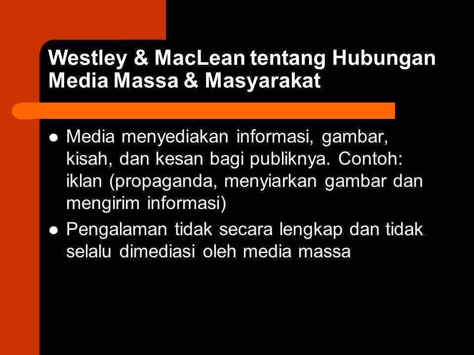 Westley & MacLean tentang Hubungan Media Massa & Masyarakat Media menyediakan informasi, gambar, kisah, dan kesan bagi publiknya. Contoh: iklan (propa