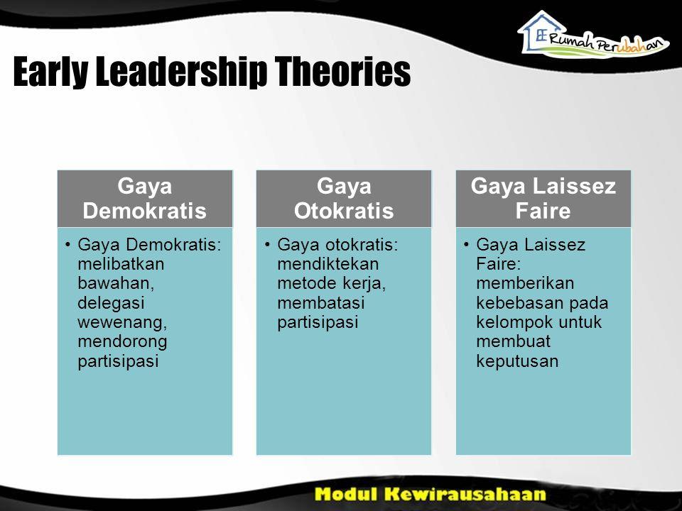 Early Leadership Theories Gaya Demokratis Gaya Demokratis: melibatkan bawahan, delegasi wewenang, mendorong partisipasi Gaya Otokratis Gaya otokratis: