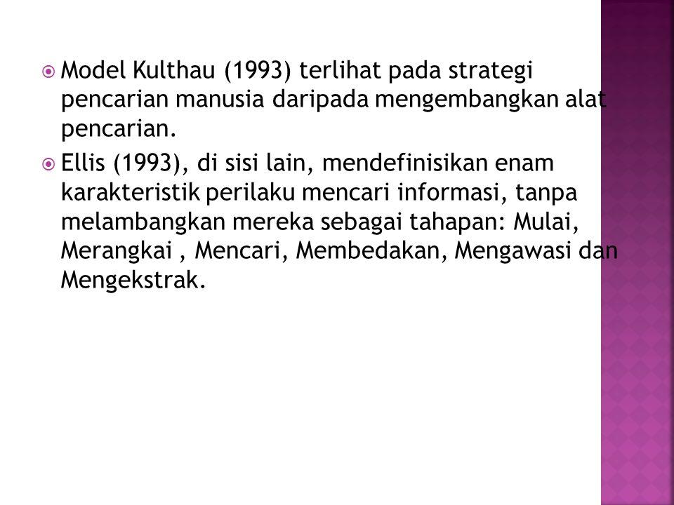  Model Kulthau (1993) terlihat pada strategi pencarian manusia daripada mengembangkan alat pencarian.