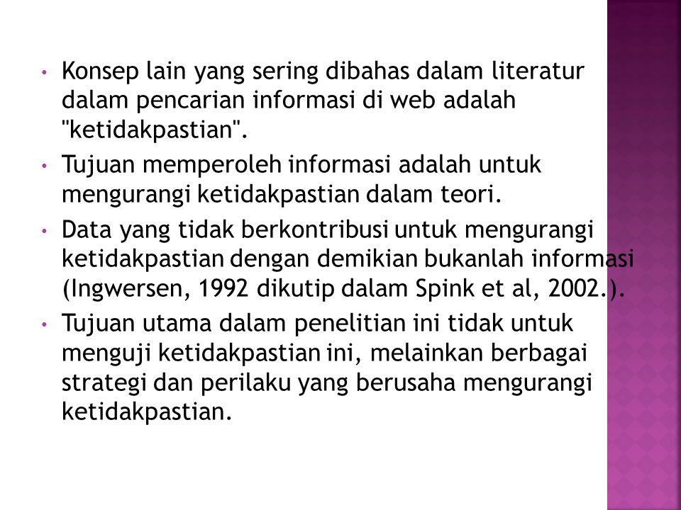 Konsep lain yang sering dibahas dalam literatur dalam pencarian informasi di web adalah ketidakpastian .