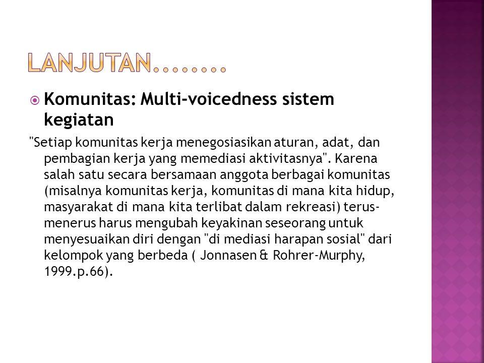  Komunitas: Multi-voicedness sistem kegiatan Setiap komunitas kerja menegosiasikan aturan, adat, dan pembagian kerja yang memediasi aktivitasnya .