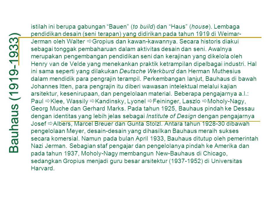 """istilah ini berupa gabungan """"Bauen"""" (to build) dan """"Haus"""" (house). Lembaga pendidikan desain (seni terapan) yang didirikan pada tahun 1919 di Weimar-"""