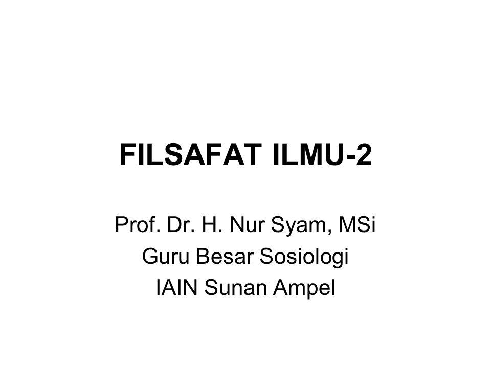 FILSAFAT ILMU-2 Prof. Dr. H. Nur Syam, MSi Guru Besar Sosiologi IAIN Sunan Ampel