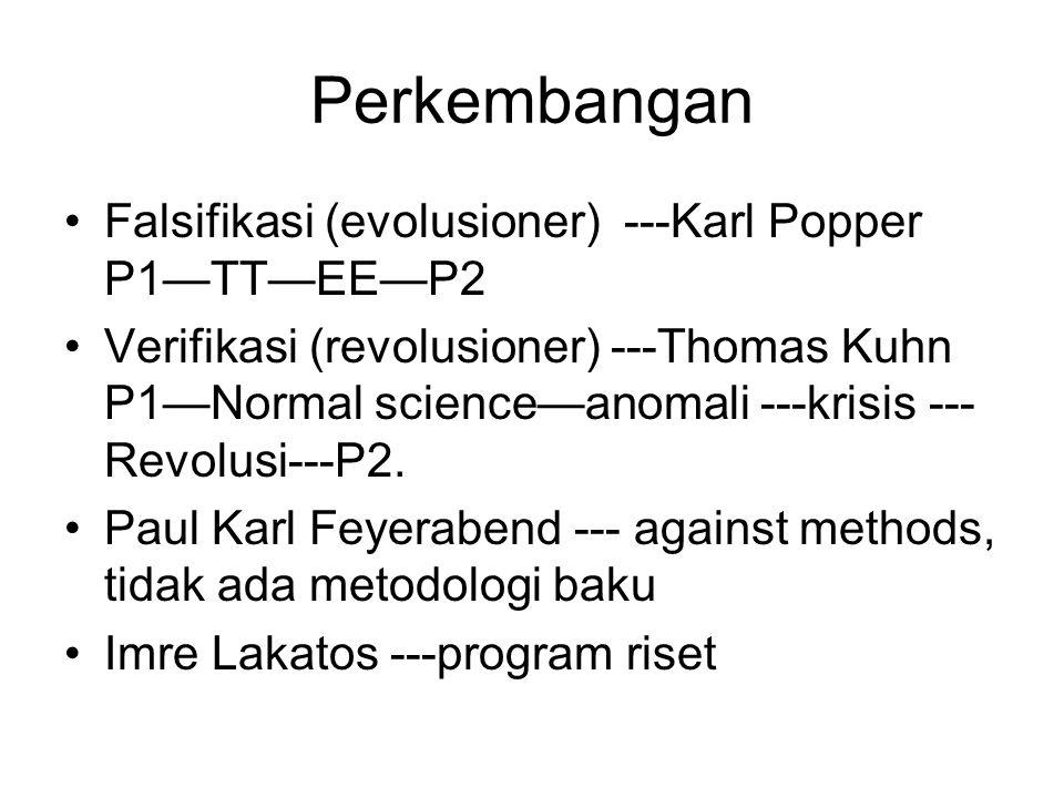 Perkembangan Falsifikasi (evolusioner) ---Karl Popper P1—TT—EE—P2 Verifikasi (revolusioner) ---Thomas Kuhn P1—Normal science—anomali ---krisis --- Revolusi---P2.