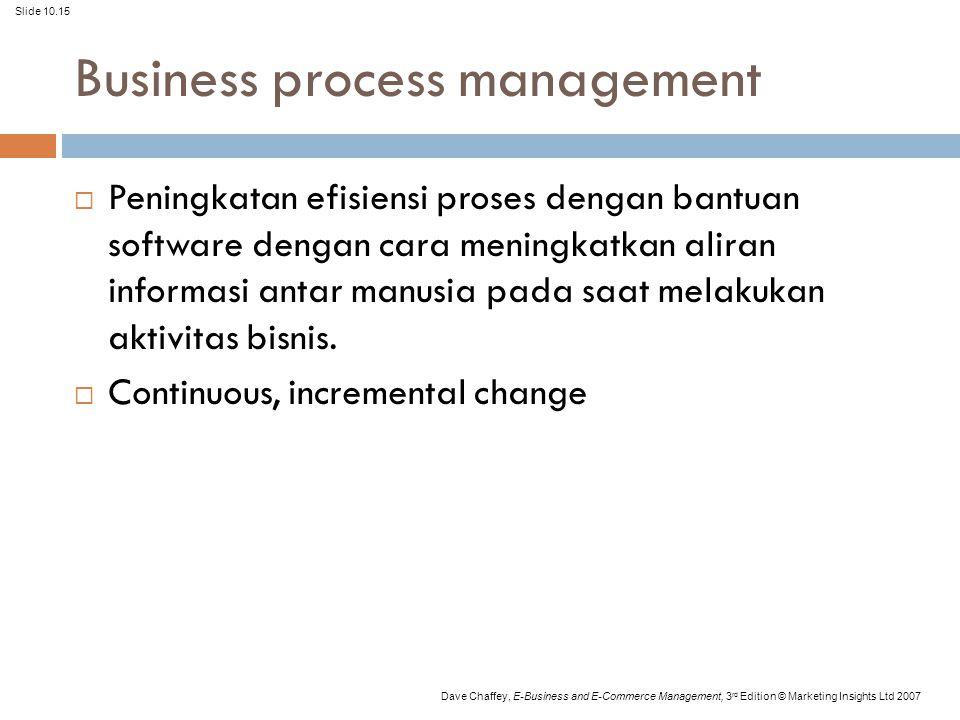 Slide 10.15 Dave Chaffey, E-Business and E-Commerce Management, 3 rd Edition © Marketing Insights Ltd 2007 Business process management  Peningkatan e