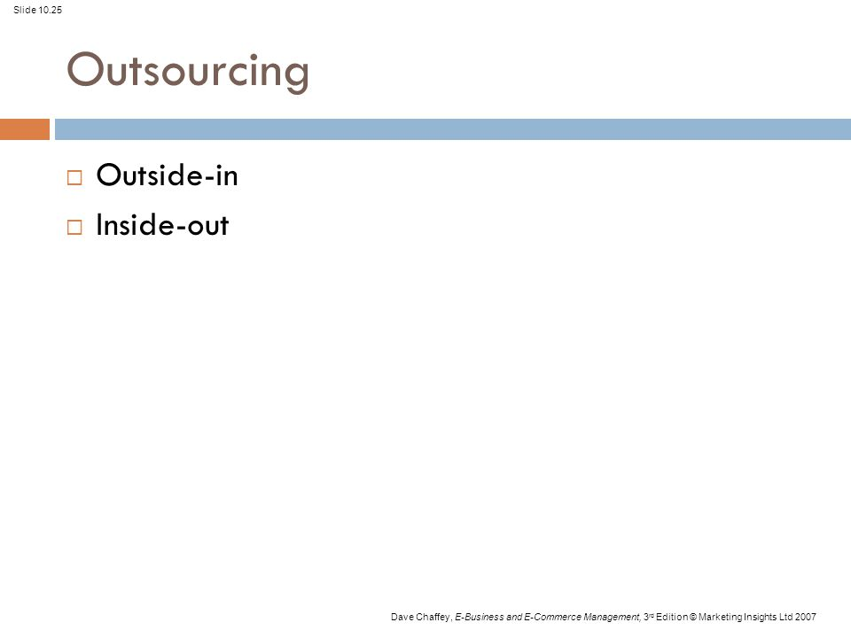 Slide 10.25 Dave Chaffey, E-Business and E-Commerce Management, 3 rd Edition © Marketing Insights Ltd 2007 Outsourcing  Outside-in  Inside-out