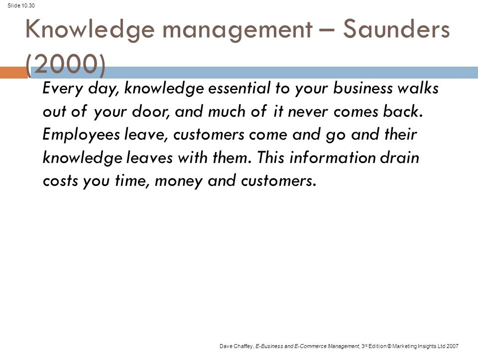 Slide 10.30 Dave Chaffey, E-Business and E-Commerce Management, 3 rd Edition © Marketing Insights Ltd 2007 Knowledge management – Saunders (2000) Every day, knowledge essential to your business walks out of your door, and much of it never comes back.