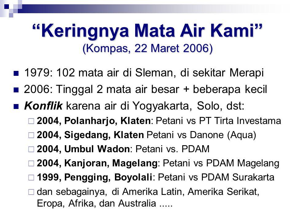 """""""Keringnya Mata Air Kami"""" (Kompas, 22 Maret 2006) 1979: 102 mata air di Sleman, di sekitar Merapi 2006: Tinggal 2 mata air besar + beberapa kecil Konf"""