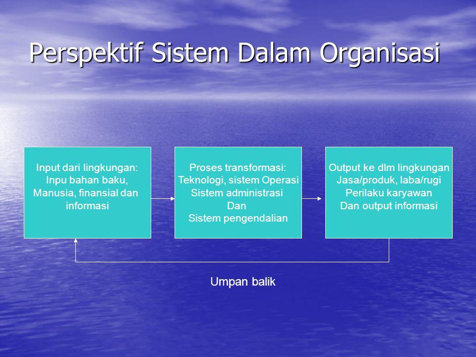 Perspektif Sistem Dalam Organisasi Input dari lingkungan: Inpu bahan baku, Manusia, finansial dan informasi Proses transformasi: Teknologi, sistem Ope