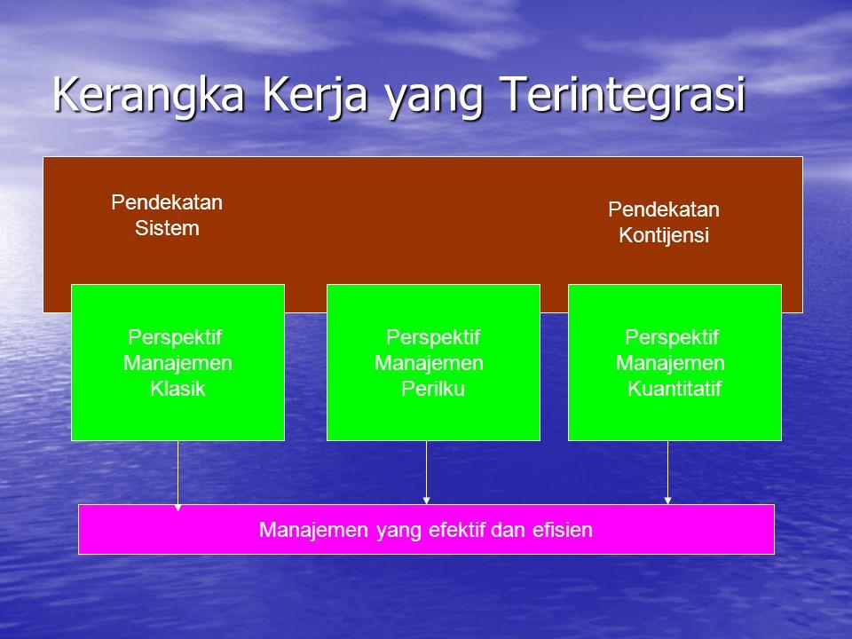 Kerangka Kerja yang Terintegrasi Perspektif Manajemen Klasik Perspektif Manajemen Perilku Perspektif Manajemen Kuantitatif Manajemen yang efektif dan efisien Pendekatan Sistem Pendekatan Kontijensi