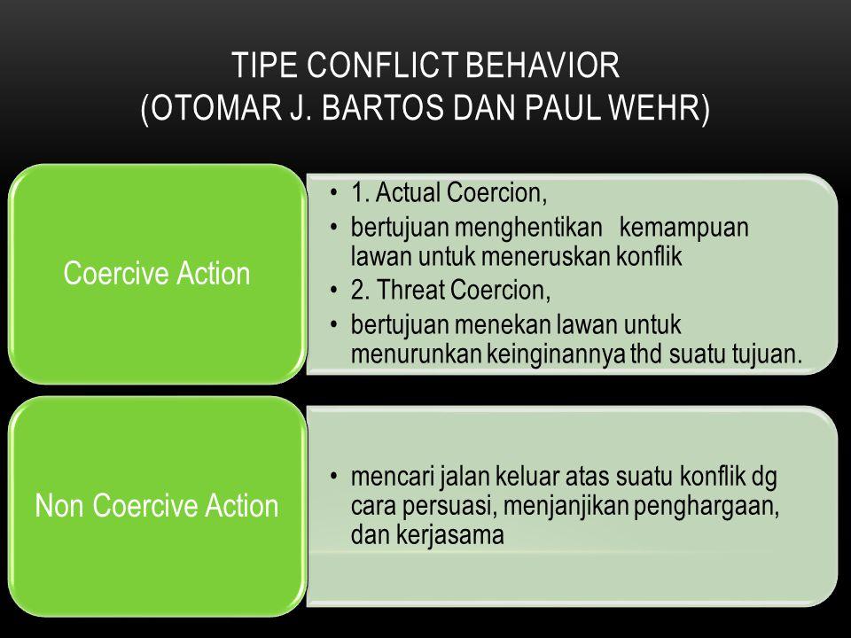 TIPE CONFLICT BEHAVIOR (OTOMAR J. BARTOS DAN PAUL WEHR) 1. Actual Coercion, bertujuan menghentikan kemampuan lawan untuk meneruskan konflik 2. Threat