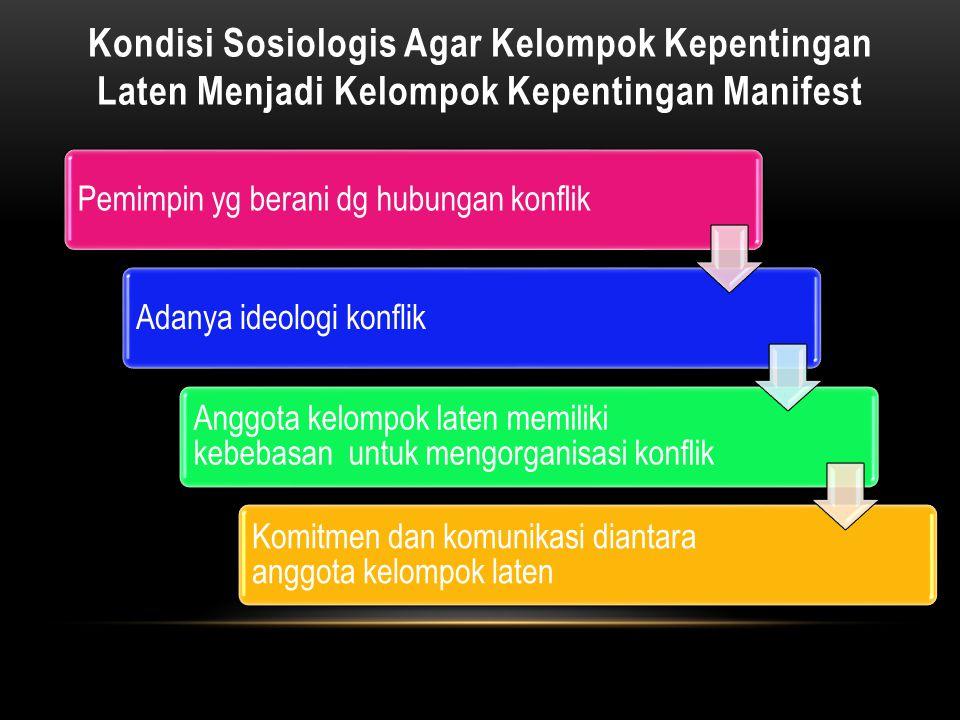 Pemimpin yg berani dg hubungan konflikAdanya ideologi konflik Anggota kelompok laten memiliki kebebasan untuk mengorganisasi konflik Komitmen dan komu