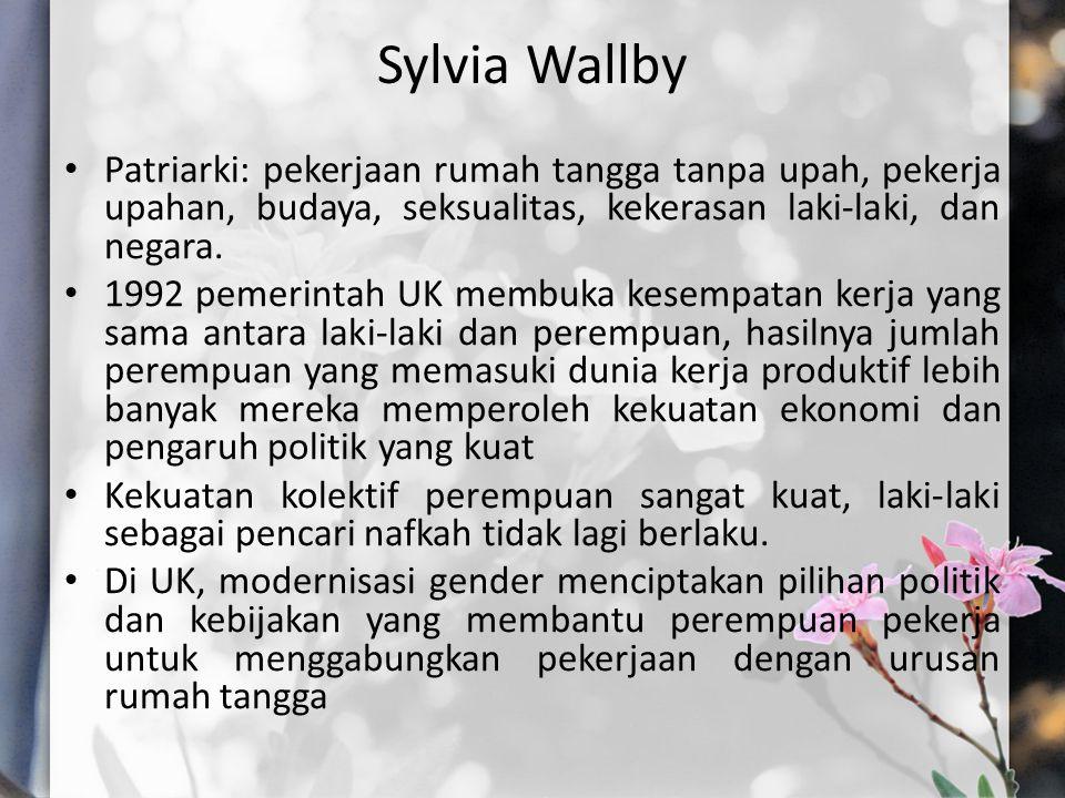 Sylvia Wallby Patriarki: pekerjaan rumah tangga tanpa upah, pekerja upahan, budaya, seksualitas, kekerasan laki-laki, dan negara.